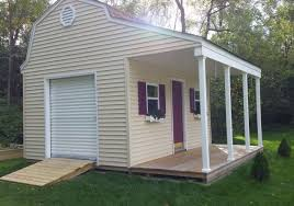 beautiful 12x16 barn shed with porch with vinyl siding roll up