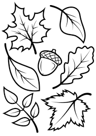 to see printable version of Fall Leaves and Acorn Coloring page