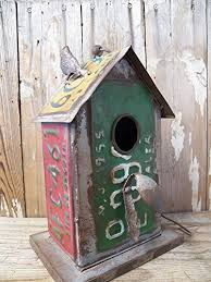 Adorable Industrial Style Old License Plate Metal Bird House Rustic Antique Styling Birdhouse