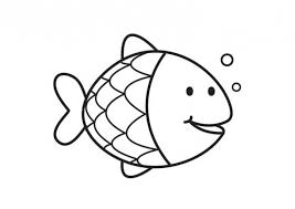 Preschool Coloring Printable Image Of A Smiling Rainbow Fish
