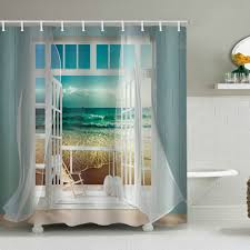 windows landschaft design duschvorhang mode polyester gedruckter badezimmer zubehör