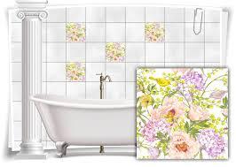 fliesen aufkleber fliesen bild kachel blumen gemälde pastell farben bad wc deko küche