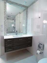 Small Narrow Bathroom Ideas by Floating Narrow Bathroom Vanities Integrated Mosaic Tile Mirror