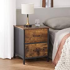 vasagle nachttisch nachtkommode beistelltisch mit 2 schubladen stahlrahmen 45 x 45 x 55 cm für schlafzimmer