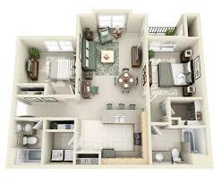 appartement deux chambres 50 plans 3d d appartement avec 2 chambres appartements idée et plans