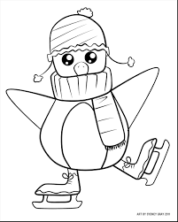 Astonishing Cute Christmas Penguin Coloring Pages Page With Free Printable For Kids