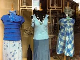 A Simple Blue Theme Seen In Charity Shop Window