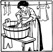 Woman Washing Clothes On Washboard