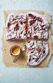 Download Rustic Plum Cake With Crumble And Icing Sugar Stock Photo