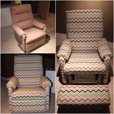 Lane Wing Chair Recliner Slipcovers by Diy Upholstery Reupholstered Rocking Chair Recliner With Chevron