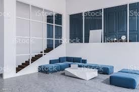 blau weiß wohnzimmer sofaecke poster stockfoto und mehr bilder behaglich