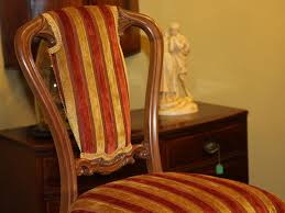 Upholstered Dining Chairs Set Of 6 by Set Of 6 19th C Walnut Striped Upholstered Dining Chairs C 1870