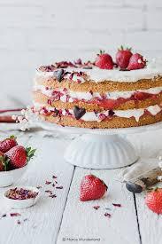 gesündere erdbeer rhabarber torte