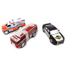 100 Emergency Truck 3in1 Vehicle Toy PlaySet For Kids W Lights And Sounds