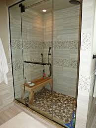 earth pebble tile soapstone tile border shower
