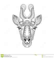 Royalty Free Vector Download Zentangle Giraffe Head Totem For Adult Anti Stress Coloring Page