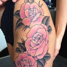 Great Pale Pink Roses Tattoo On The Hip