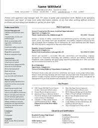 Construction Resume Example Crew Supervisor Sample Resumes