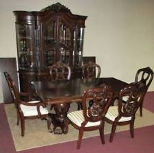 DINING ROOM SET CHINA CABINET DOUBLE PEDESTAL TABLE 6 CHAIRS By GLENWOOD