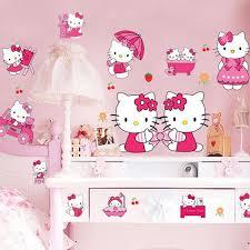 Sticker Cheap Kids Bedroom Decor 3d Hello Kitty Stickers Cartoon Wall For Roomsadesivo De Parede Muurstickers
