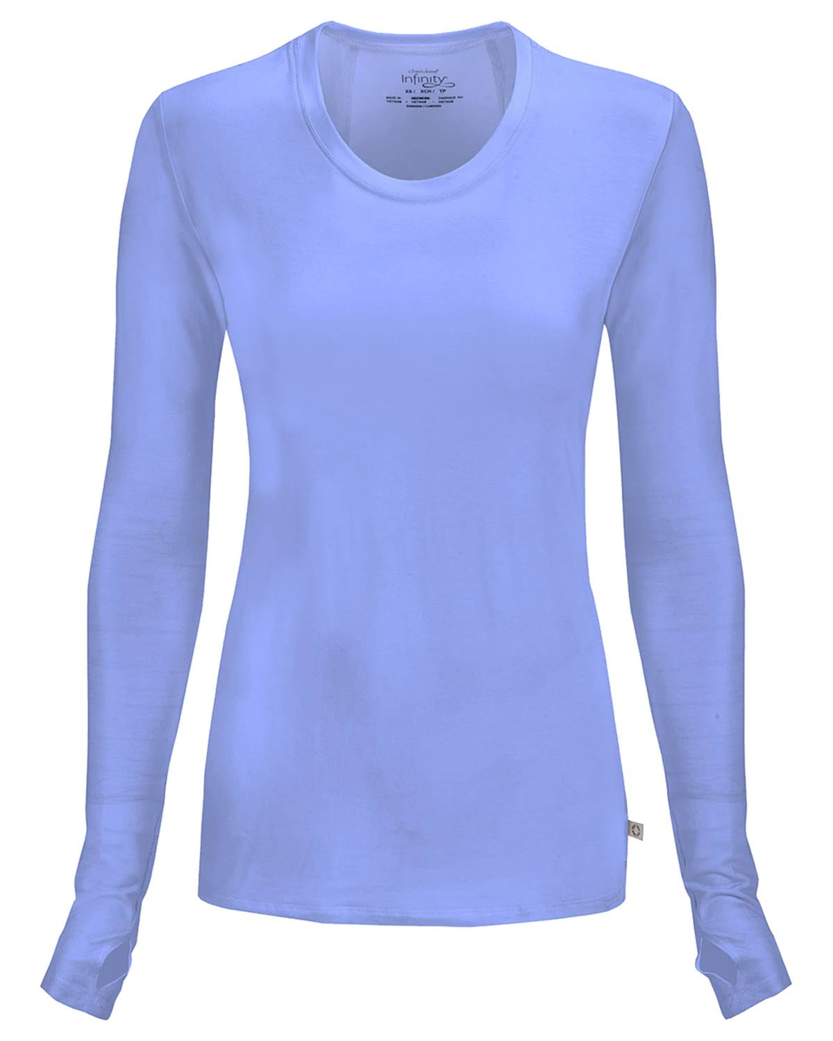 Cherokee Women's Infinity Long Sleeve Scrub Knit Tee - Ciel, Medium