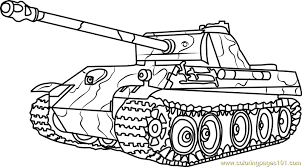 German Panther Army Tank Coloring Page