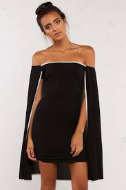 thigh tube dress with a connected cape in black