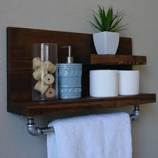 wood bathroom shelf with towel bar 13 000 beach towels
