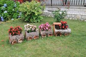 Cute Log Train With Flowers