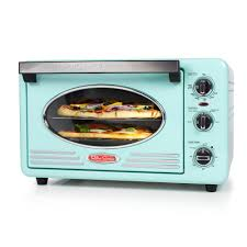 Aqua Convection Toaster Oven Retro Series 6 Slice Two Racks Bake Broil Pizza
