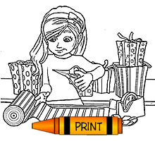 Printable Coloring Page Elves In A Box Holiday Gift Wrapping