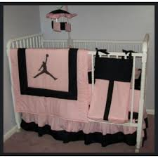 michael jordan pink black crib bedding set diaper bag and mobile