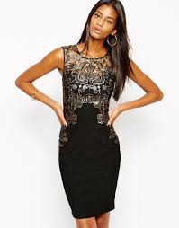 lipsy bodycon dress with foil lace mesh detail in black lyst