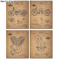 Vintage Harley Davidson Patent Wall Art Biker Motorcycle Prints Poster 4 Photos