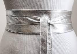 silver leather obi belt silver belt bridesmaid sash waist