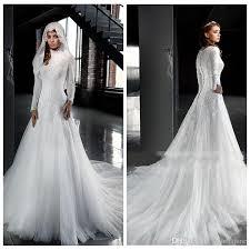 Discount Muslim High Neck Long Sleeves A Lone Wedding Dresses Dubai