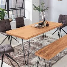 finebuy massiver esstisch harlem akazie massiv holz esszimmertisch massivholz mit design metall beinen holztisch tisch esszimmer küchentisch
