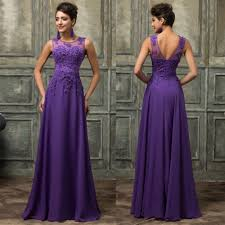 long prom party dresses 2016 purple prom gowns o neckline evening