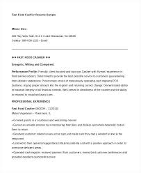 Service Industry Resume Examples Fast Food Cashier Template Financial Services Sample