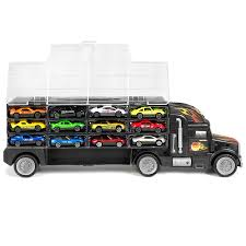 100 Semi Truck Toy Kids 2Sided Transport Car Carrier With 18