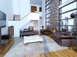 gestaltung gemütlichen modernen wohnzimmer hohe decken innenraum 3d übertragen