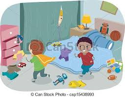 Bedroom Clipart by Messy Kids Room Drawing Interior Design