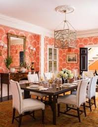 Coral Oushak Rug In The Dining Room
