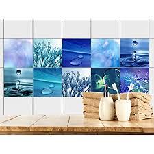 grazdesign fliesenaufkleber bad 15x15 fliesen zum aufkleben selbstklebende folie für badezimmer 10 blaue motive mit wasser 15x15cm set 20