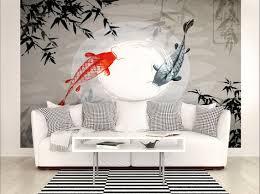 japanese koi fish photo wallpaper mural designer living room japanese koi fish bedroom wallpaper wall decor school of fish wall covering