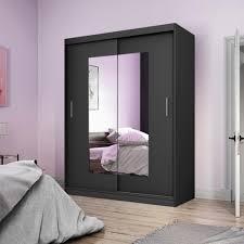 selsey kleiderschrank vaniva mit spiegel und schiebetüren in schwarz matt 150 cm
