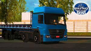 100 World Truck Simulator Skin Mercedes Atego Edio Azul QUALIFICADO Skins