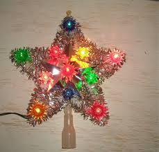 Lighted Christmas Tree Star Topper Fresh Top Light Retro Mid