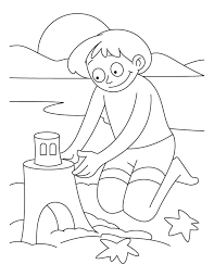 A Boy Making Castle With Sand On The Beach Coloring Pages