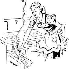 Cute black and white clipart of cooking